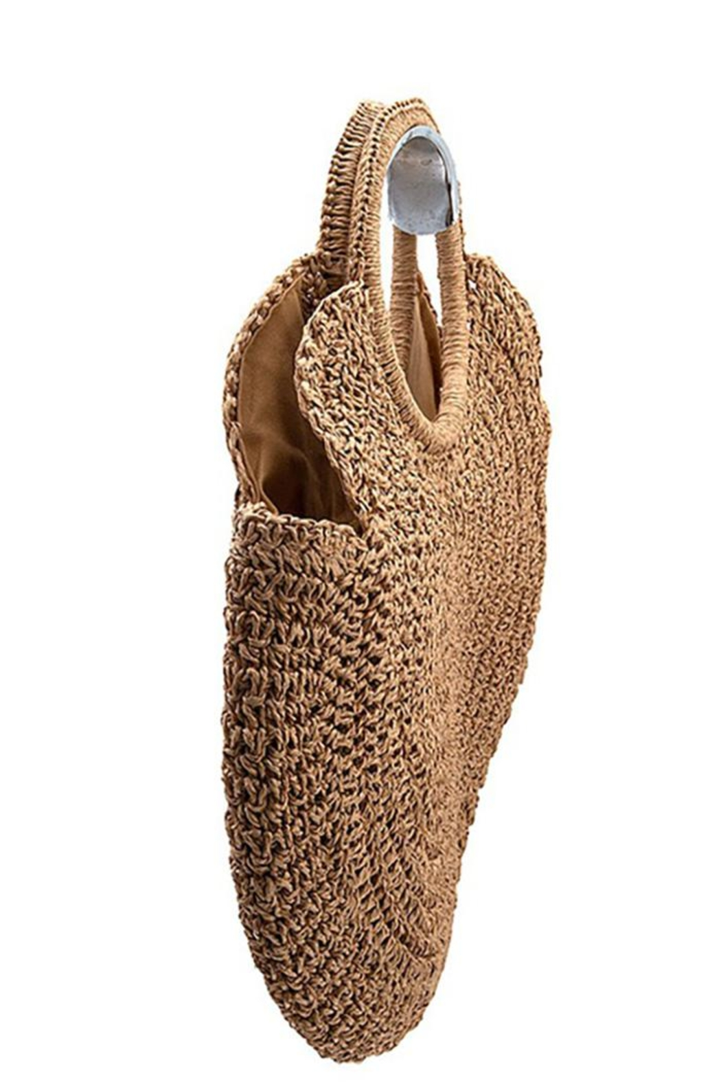 Andrea Bijoux Round Woven Fashion Tote Bag - Front Full Image