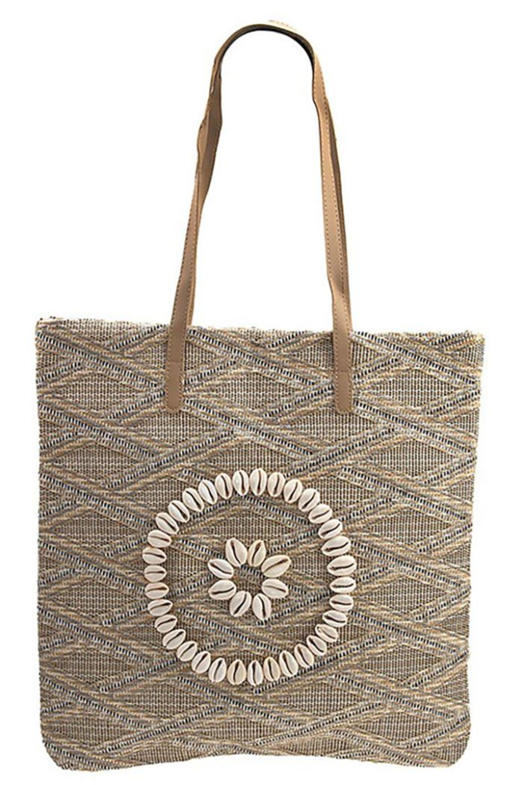 Andrea Bijoux Woven Pattern Shell Accent Tote Bag - Front Cropped Image