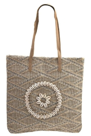 Andrea Bijoux Woven Pattern Shell Accent Tote Bag - Front cropped