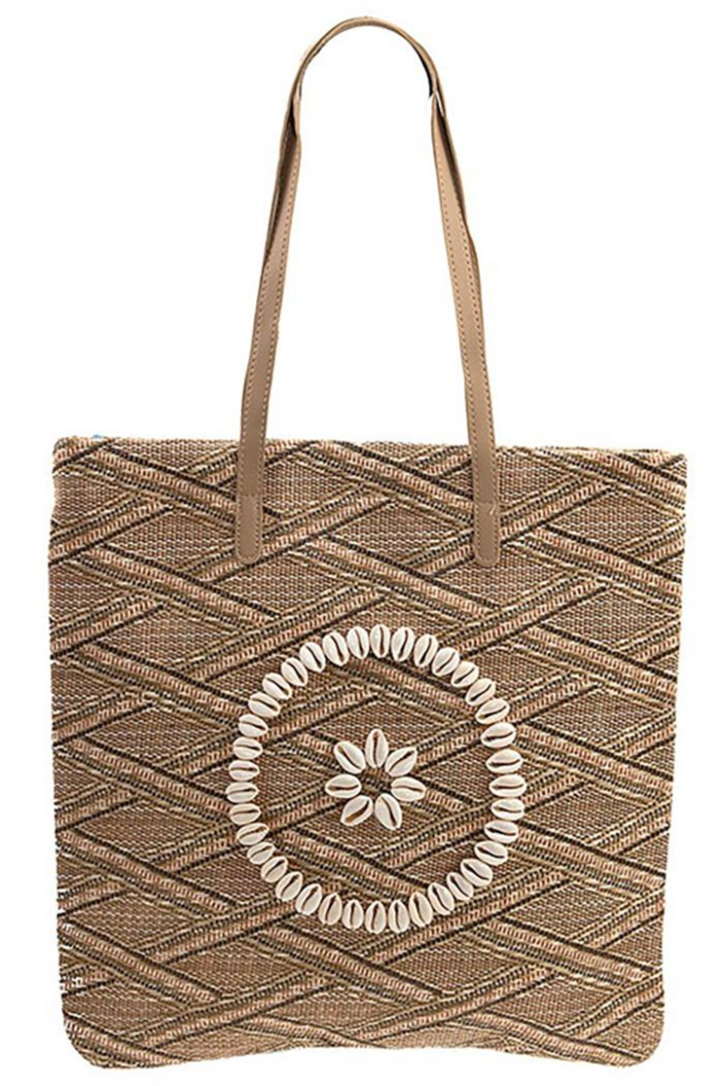 Andrea Bijoux Woven Pattern Shell Accent Tote Bag - Main Image