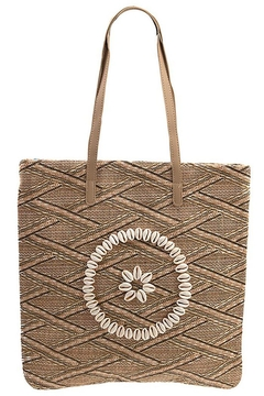 Andrea Bijoux Woven Pattern Shell Accent Tote Bag - Alternate List Image