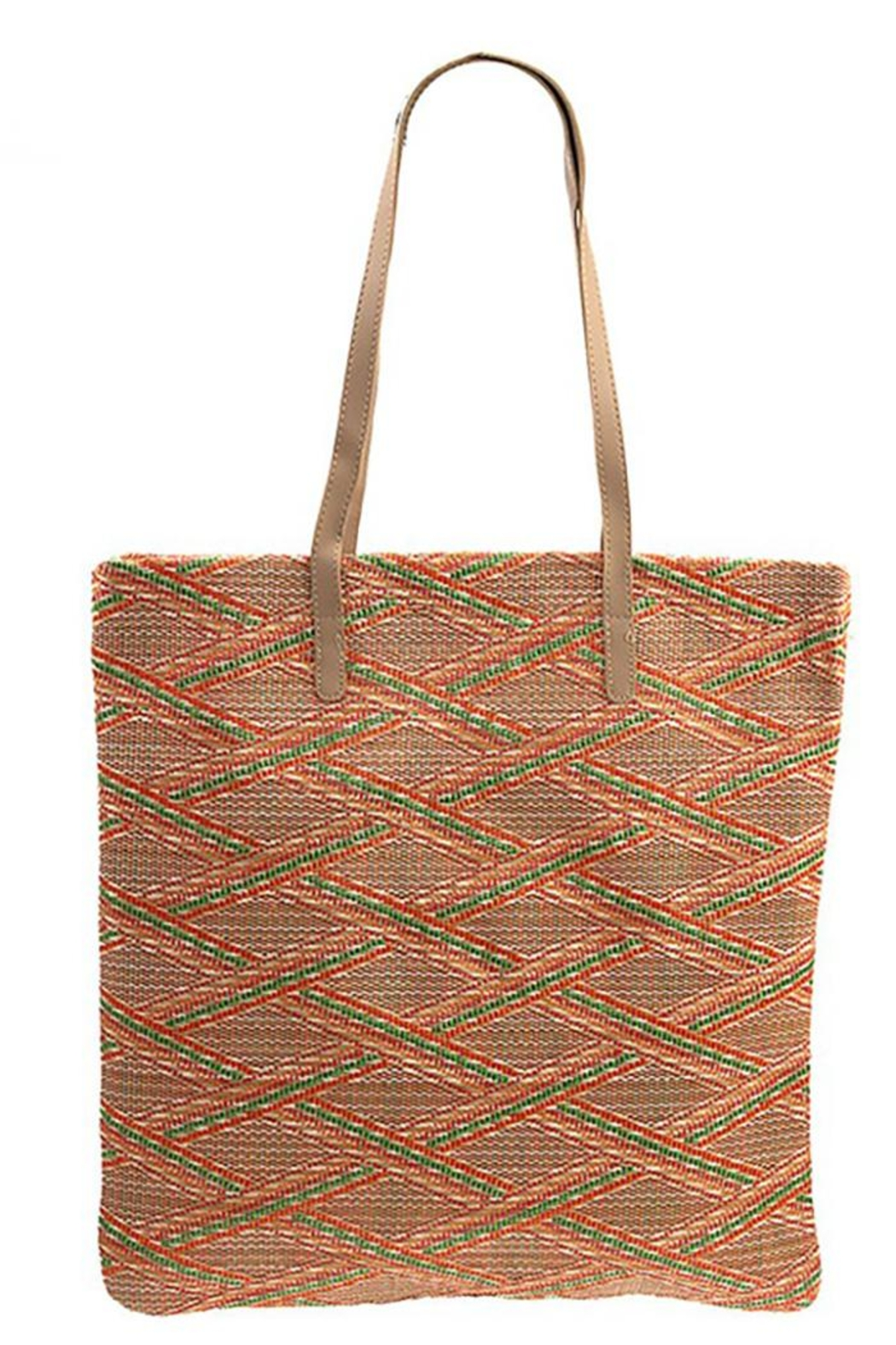 Andrea Bijoux Woven Pattern Shell Accent Tote Bag - Front Full Image