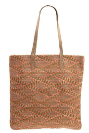 Andrea Bijoux Woven Pattern Shell Accent Tote Bag - Front full body