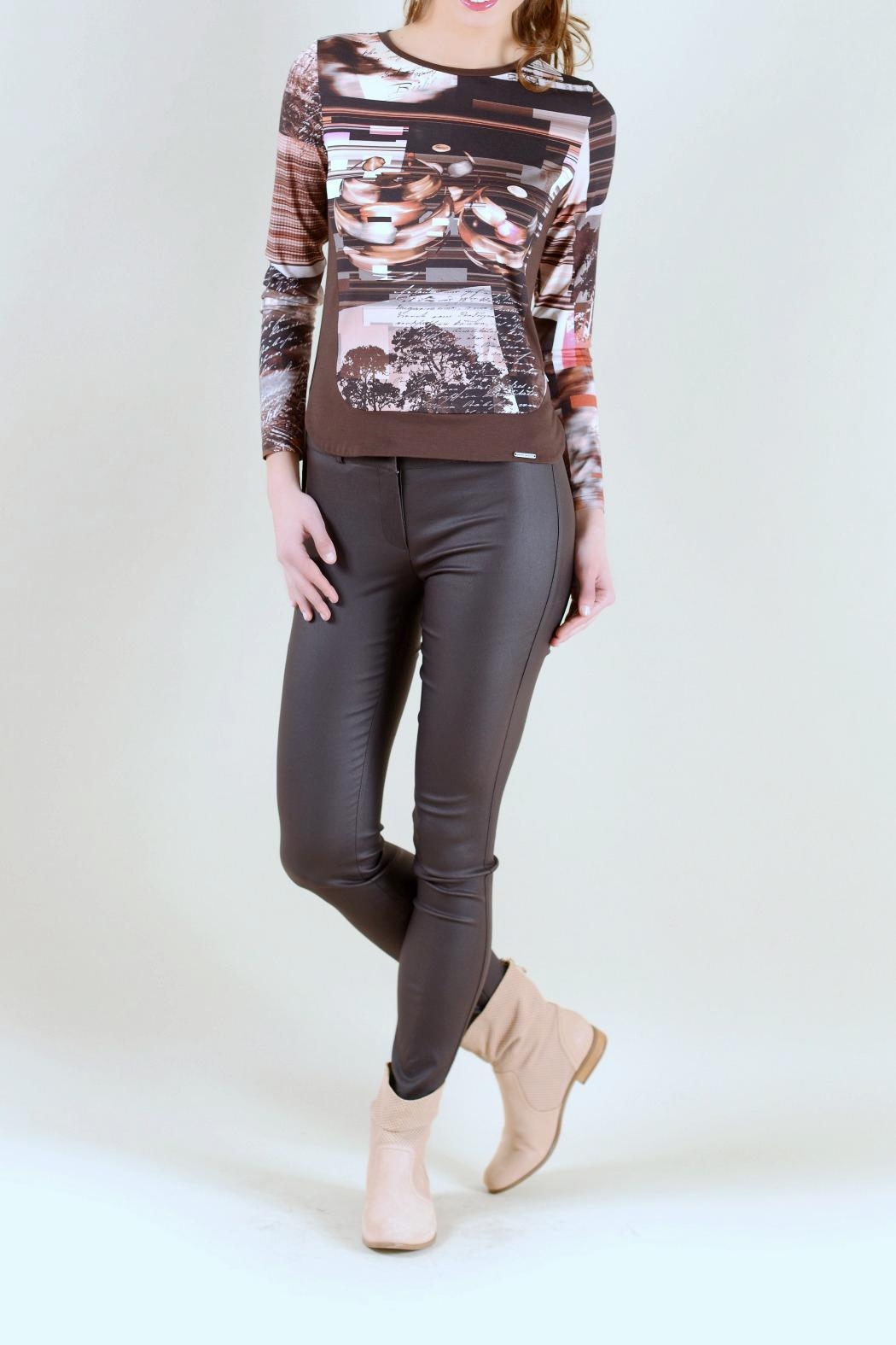 Andrea Martiny Brown Printed Top - Main Image