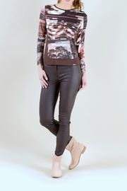 Andrea Martiny Brown Printed Top - Front cropped