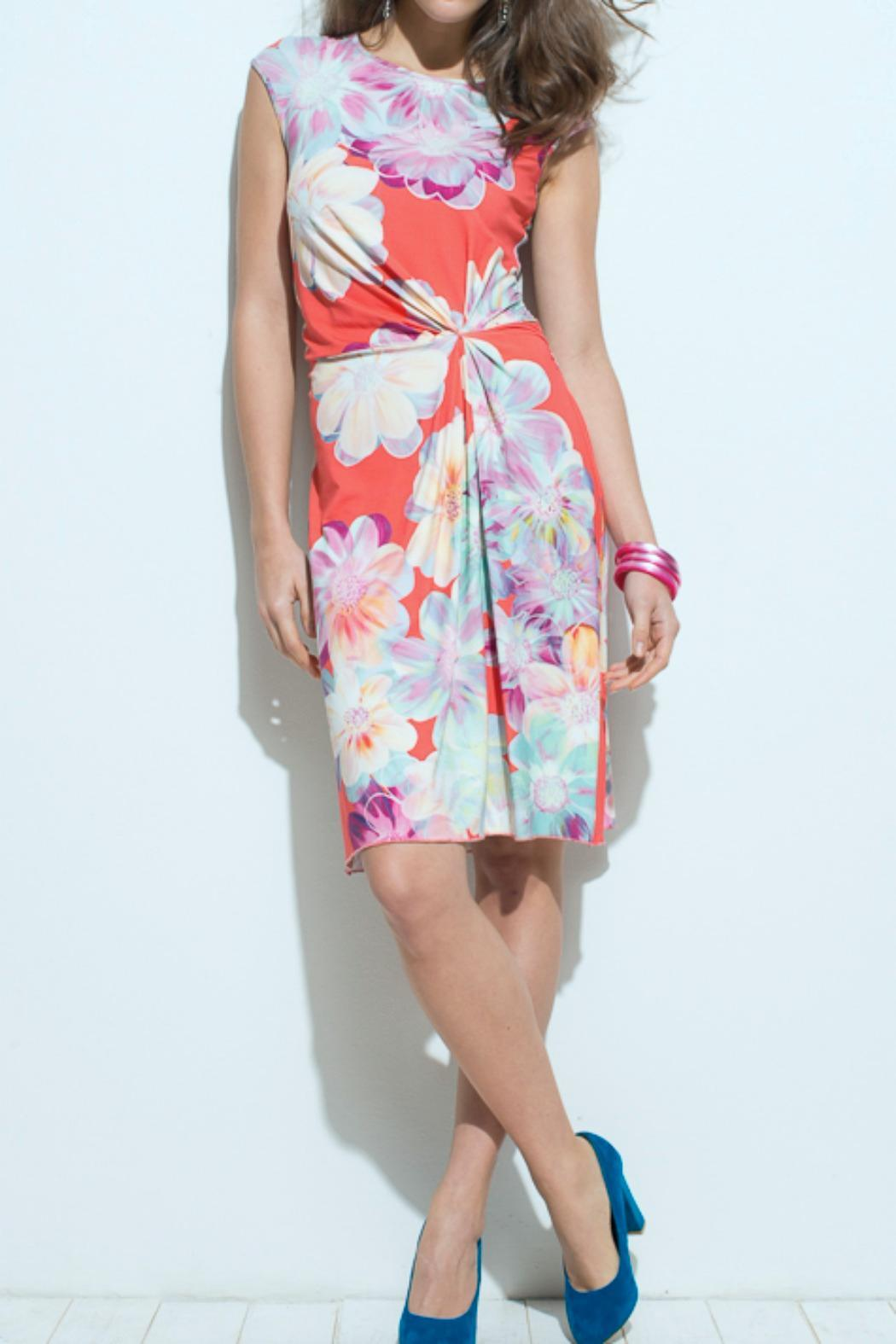 Andrea Martiny Gathered Flower Dress - Front Cropped Image