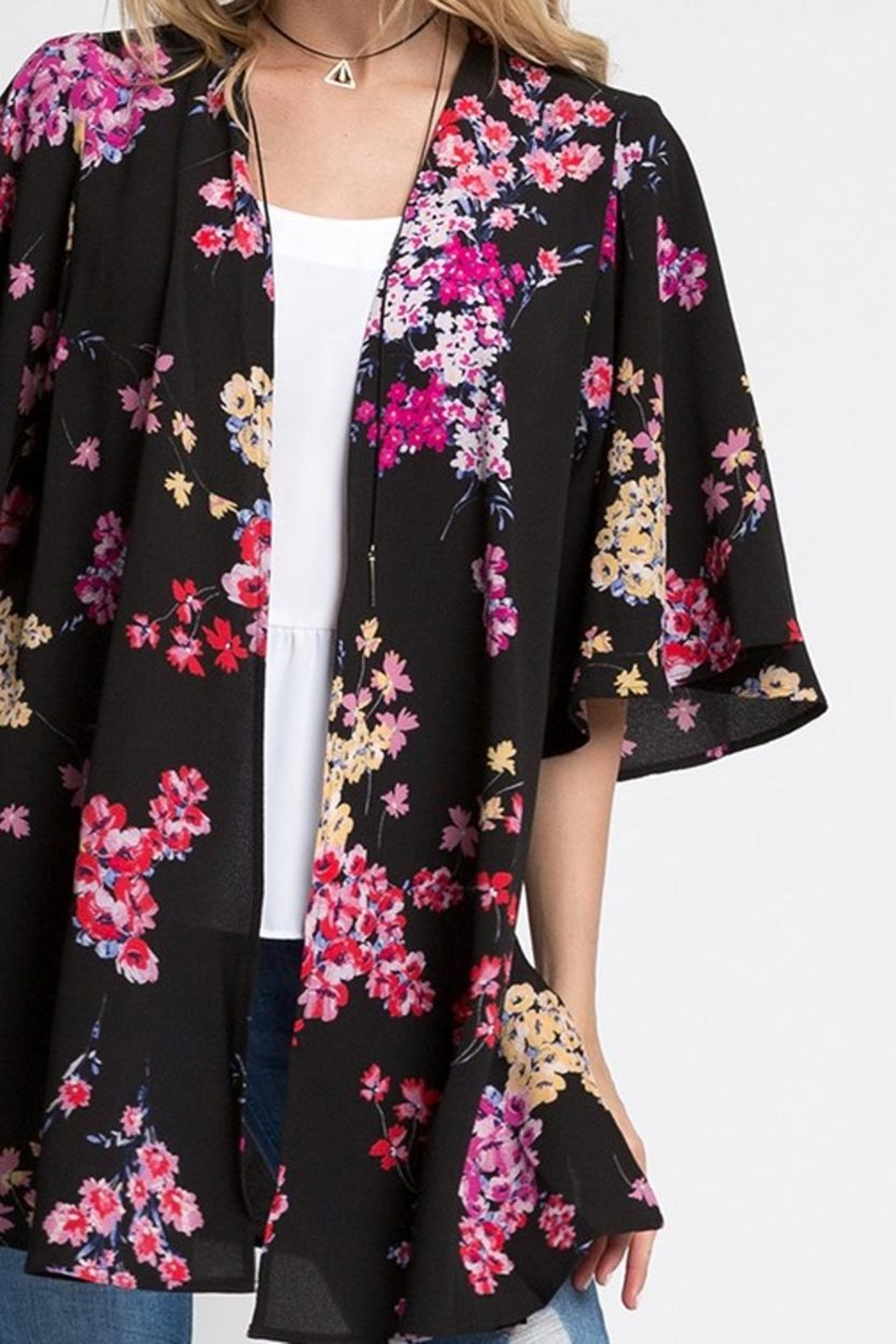 Andree Black Floral Kimono - Side Cropped Image