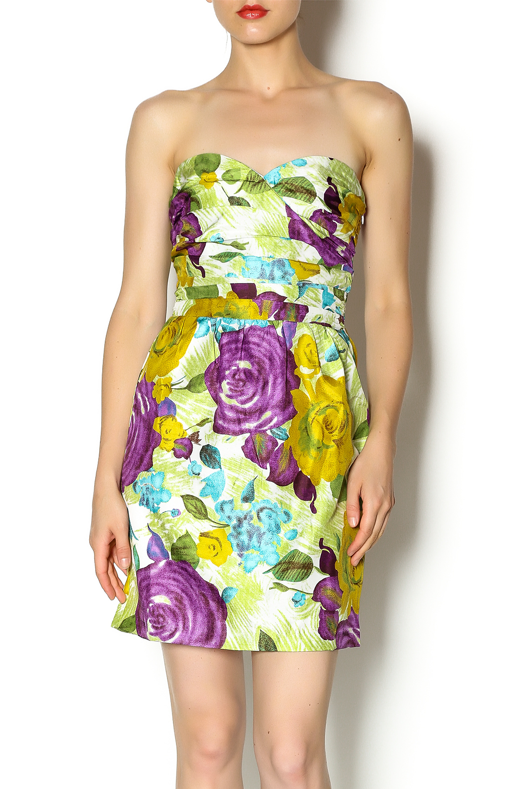 Andree Floral Strapless Dress - Main Image