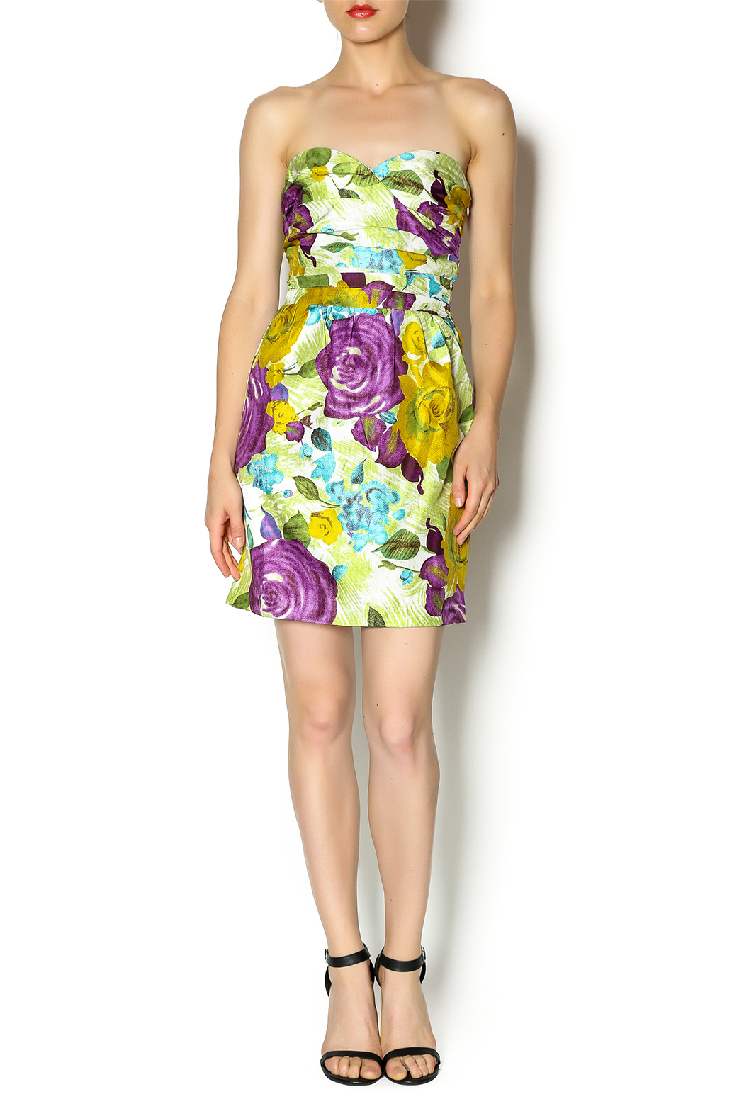Andree Floral Strapless Dress - Front Full Image
