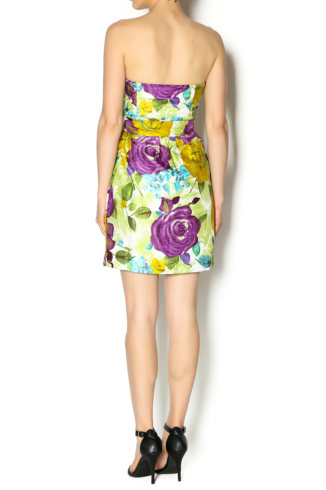 Andree Floral Strapless Dress - Side Cropped Image