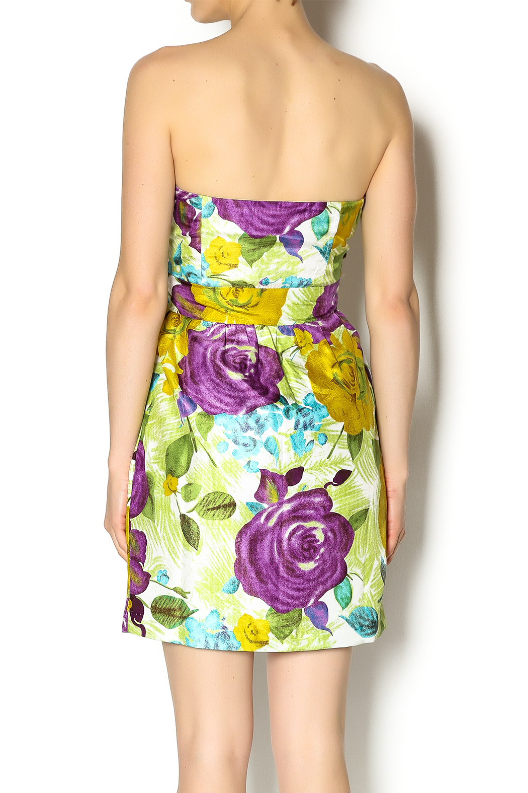 Andree Floral Strapless Dress - Back Cropped Image
