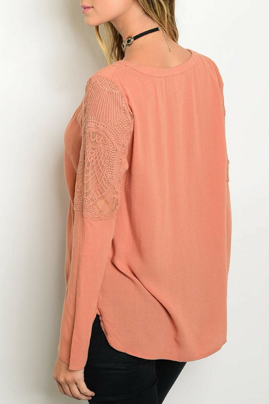 Andree Peach Lace Top - Front Full Image