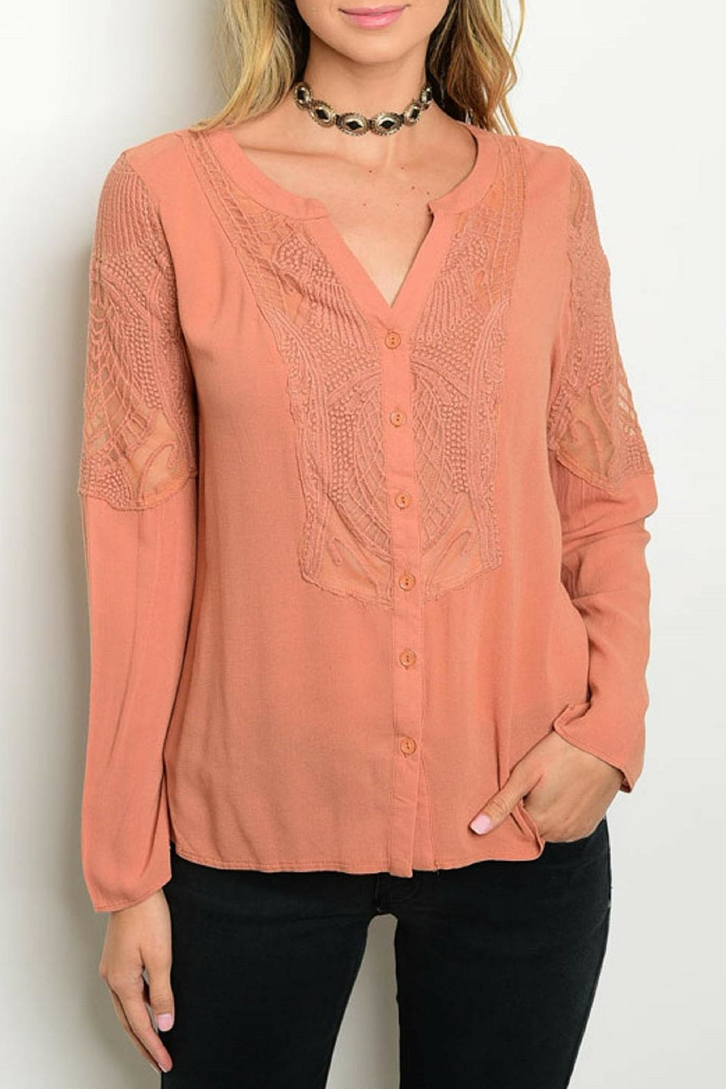 Andree Peach Lace Top - Main Image
