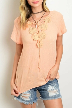 Yoyo5 Peach Crochet Top - Product List Image