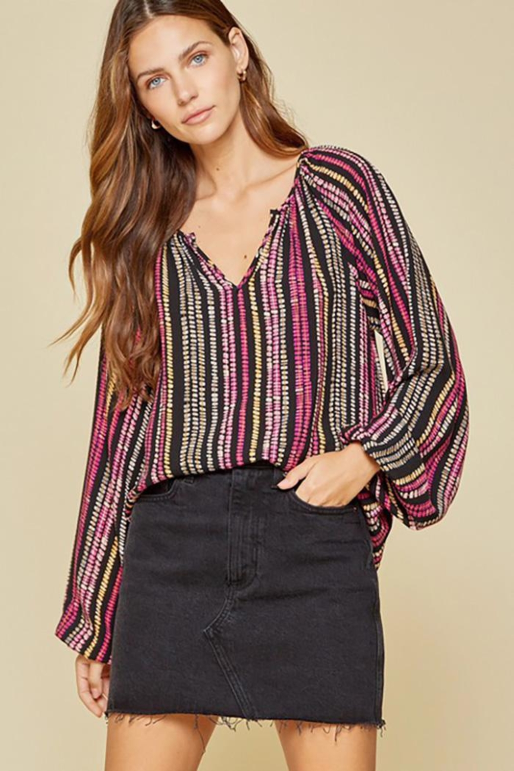 Andree by Unit Balloon Sleeve Long Sleeve Top - Back Cropped Image