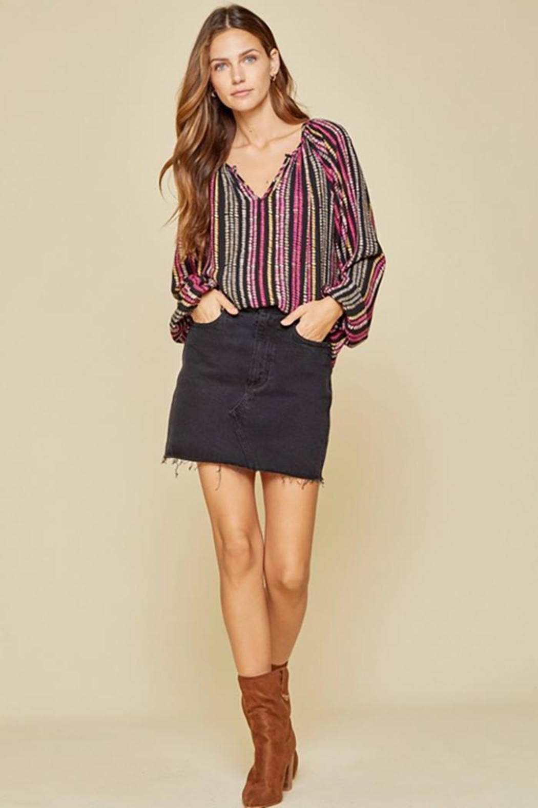 Andree by Unit Balloon Sleeve Long Sleeve Top - Front Full Image