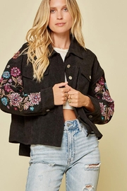 Andree by Unit Button Down Corduroy Jacket Embellished Floral Design - Product Mini Image