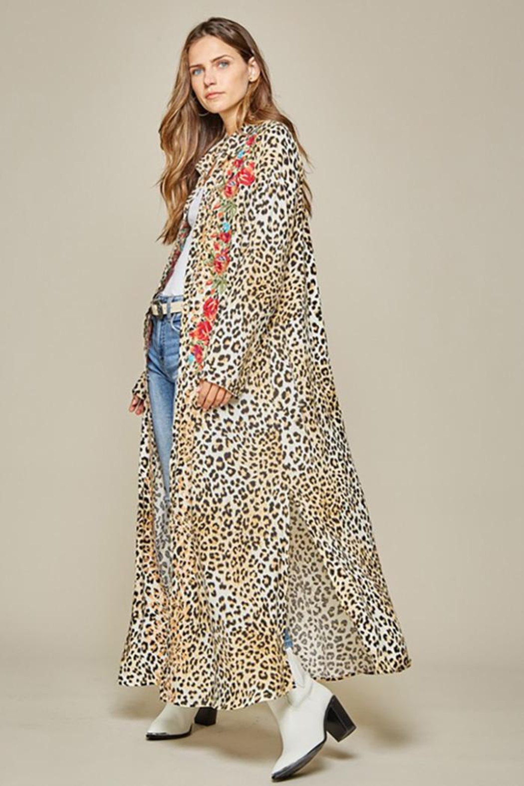 Andree by Unit Button Down Leopard Maxi Shirt Dress - Back Cropped Image
