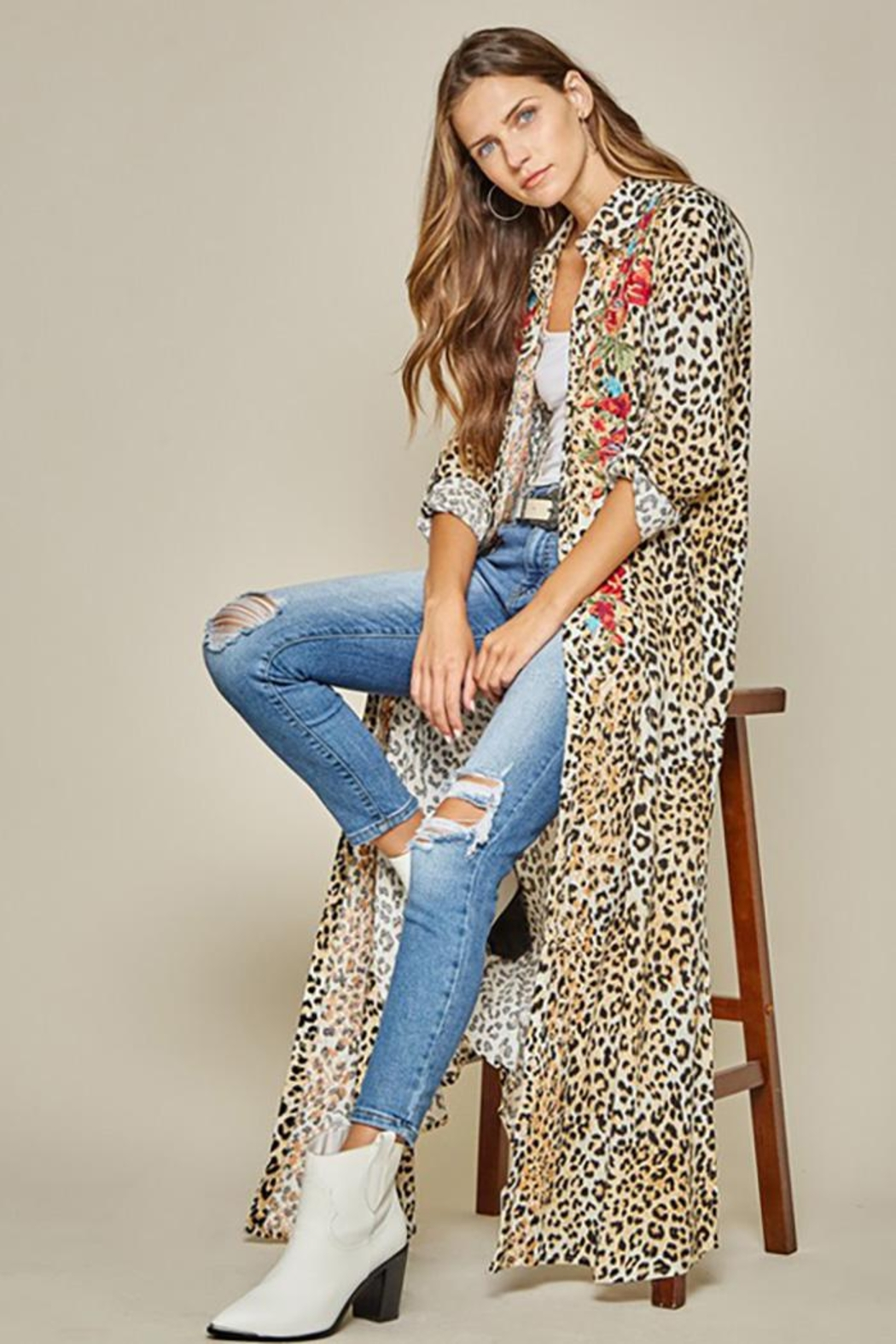 Andree by Unit Button Down Leopard Maxi Shirt Dress - Main Image