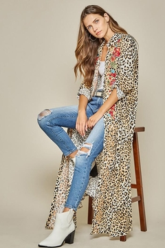 Andree by Unit Button Down Leopard Maxi Shirt Dress - Product List Image