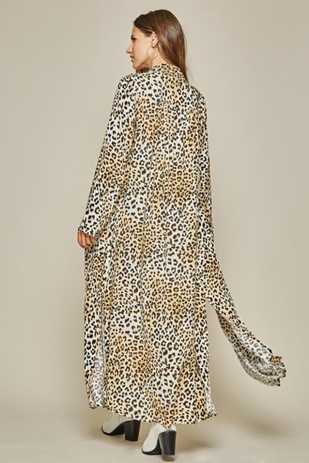 Andree by Unit Button Down Leopard Maxi Shirt Dress - Front Full Image