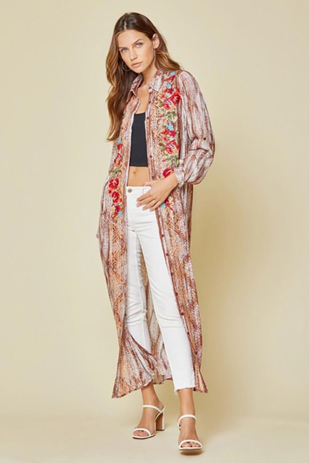 Andree by Unit Button Down Maxi Shirt Dress With Embroidery - Back Cropped Image