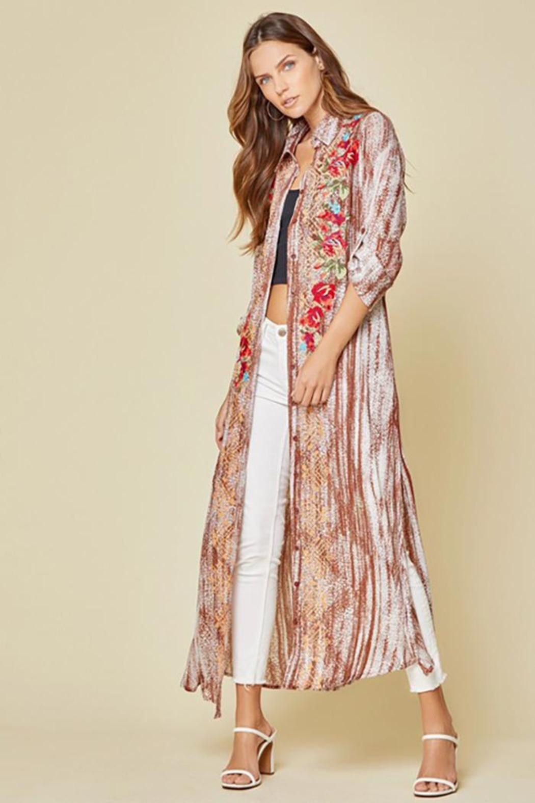 Andree by Unit Button Down Maxi Shirt Dress With Embroidery - Main Image