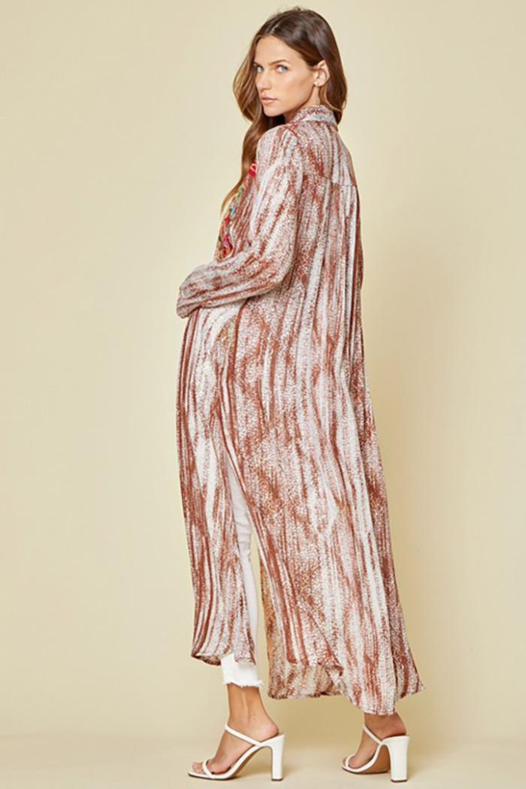 Andree by Unit Button Down Maxi Shirt Dress With Embroidery - Side Cropped Image