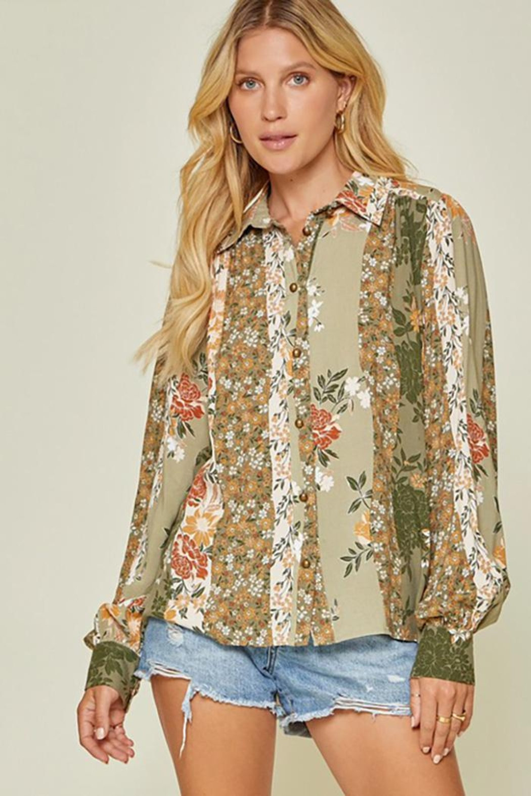 Andree by Unit Button Down Top With Balloon Sleeves - Front Full Image