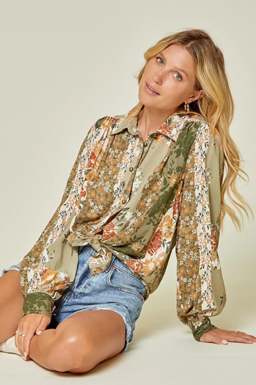 Andree by Unit Button Down Top With Balloon Sleeves - Main Image