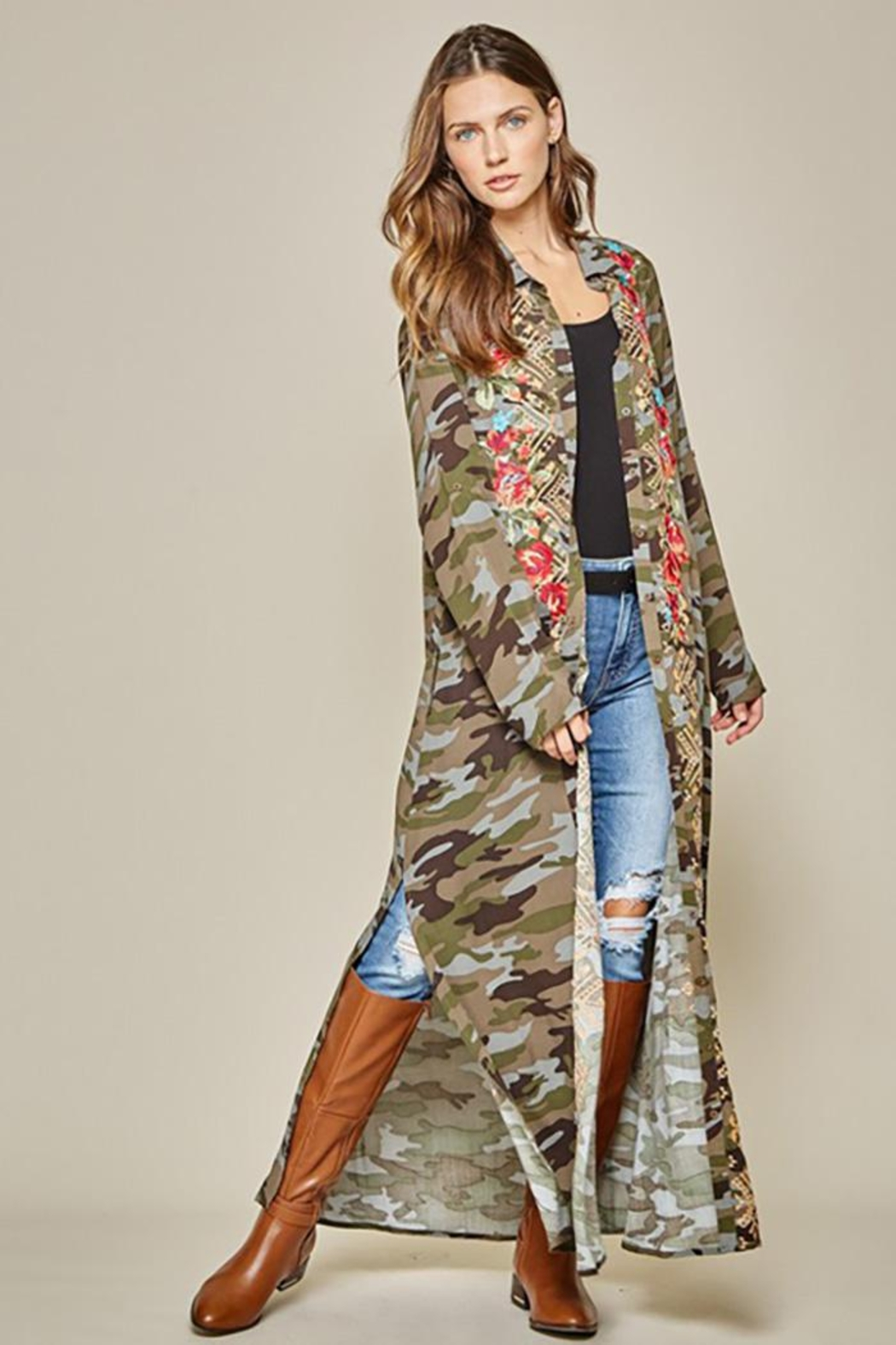 Andree by Unit Camo Embroidery Button Down Dress - Main Image