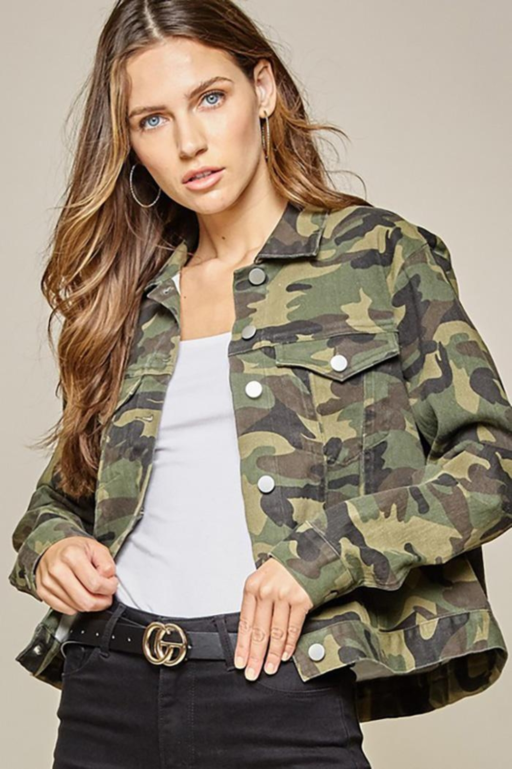 Andree by Unit Camo Jacket Embroidery Detail - Front Full Image