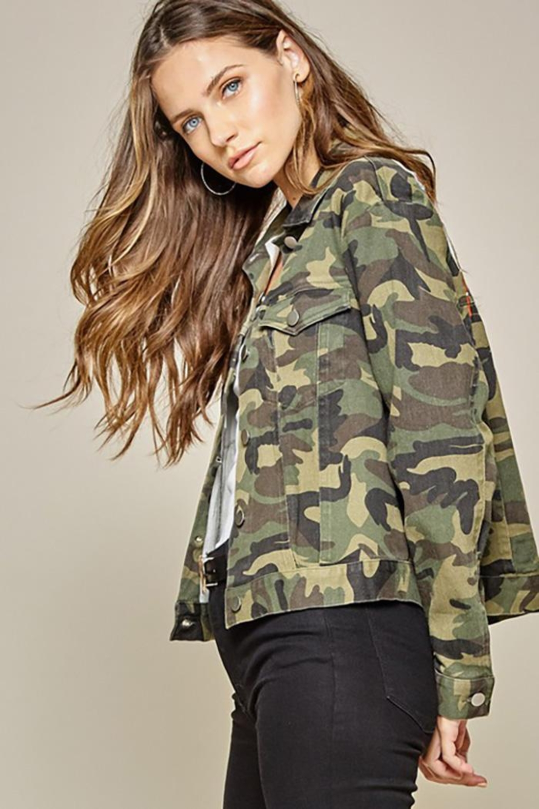 Andree by Unit Camo Jacket Embroidery Detail - Side Cropped Image