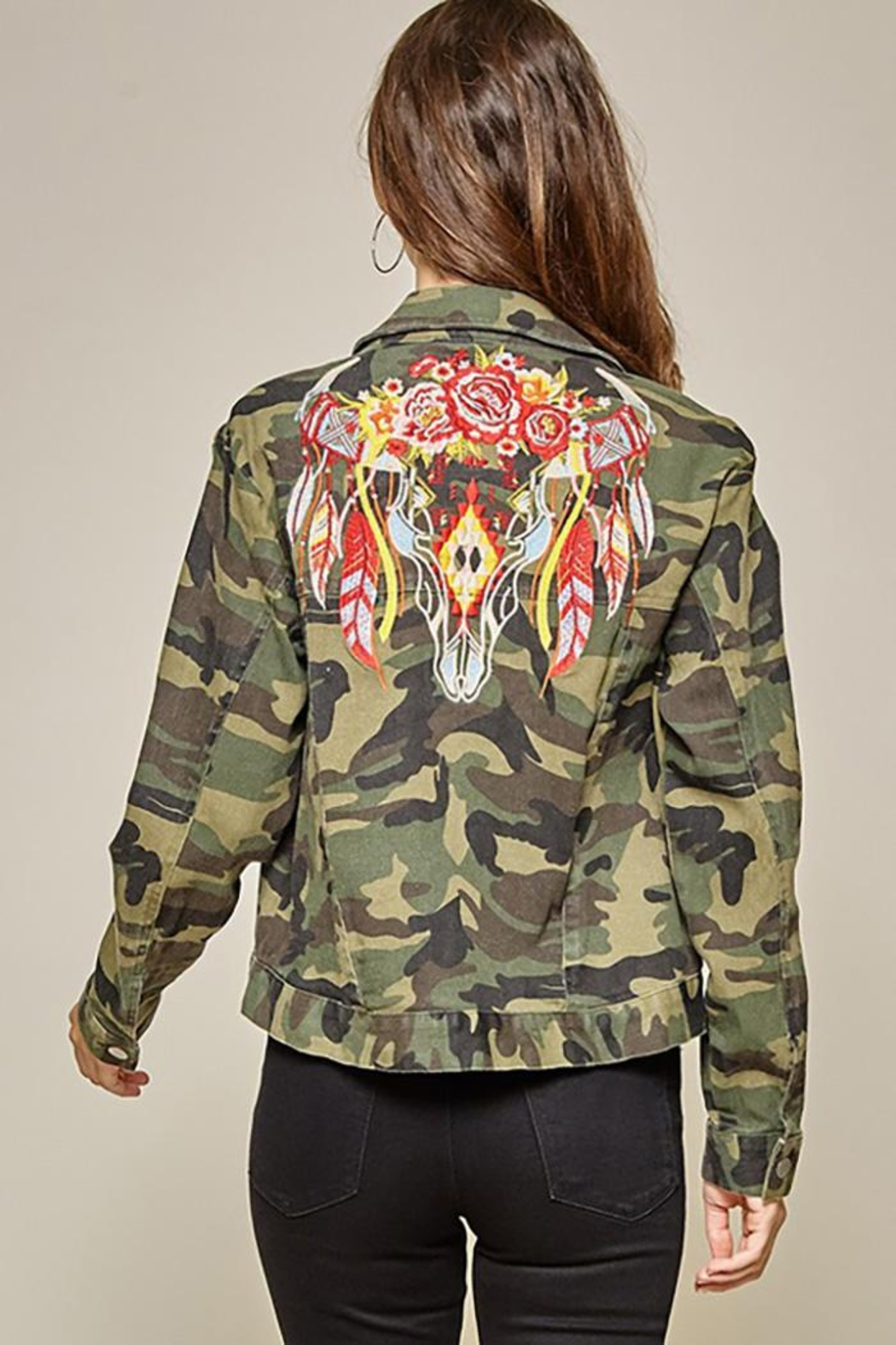 Andree by Unit Camo Jacket Embroidery Detail - Main Image