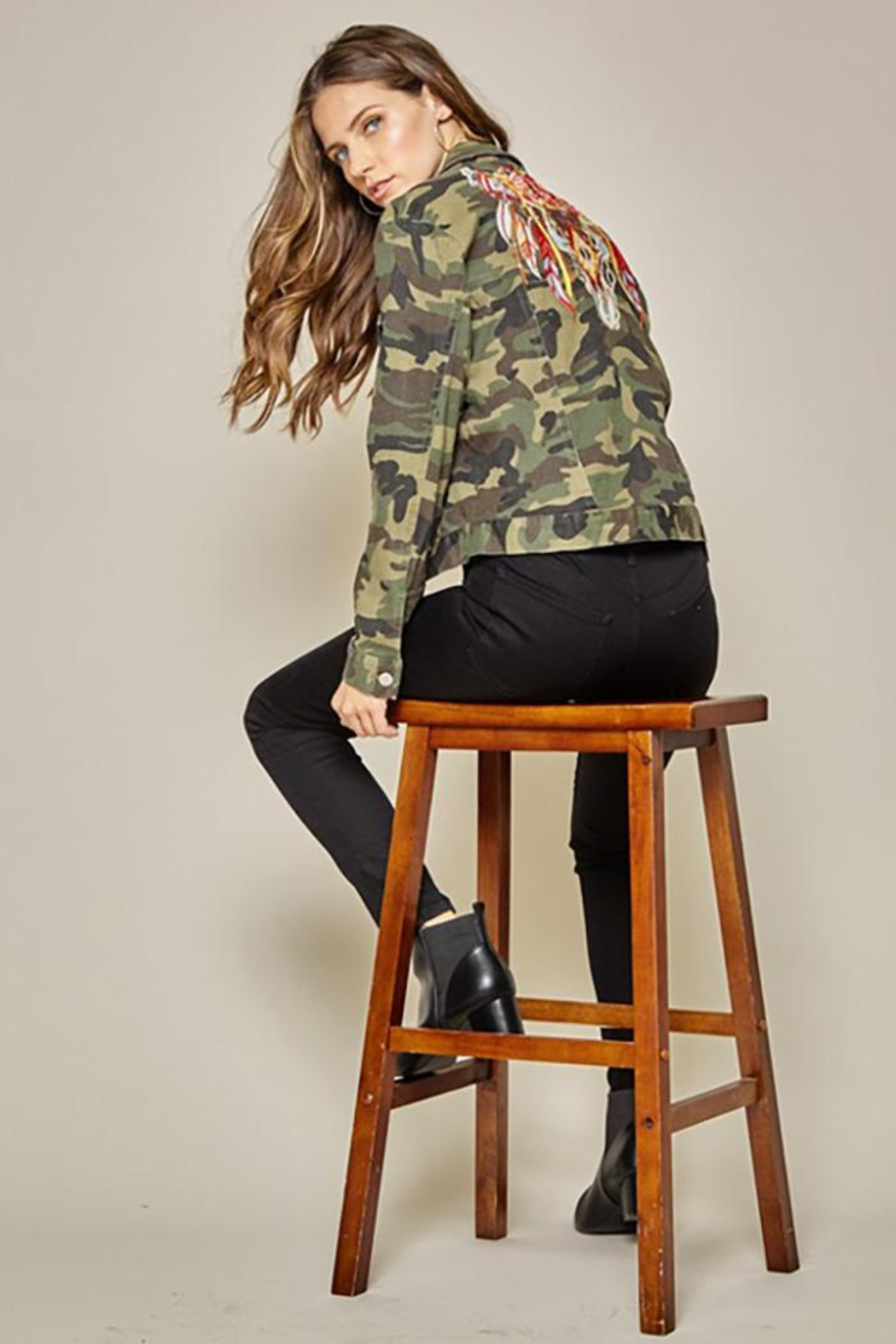 Andree by Unit Camo Jacket Embroidery Detail - Back Cropped Image