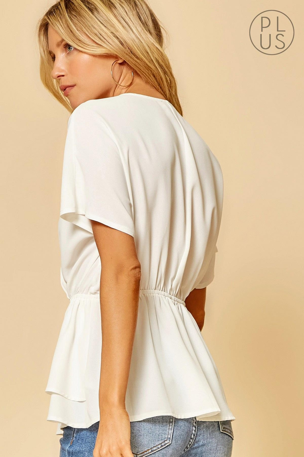 Andree by Unit Cinched-Waist Bellowing-Sleeve Top - Front Full Image