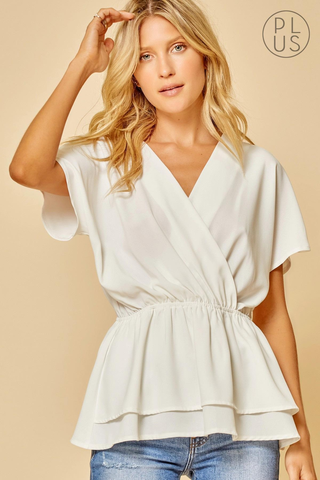 Andree by Unit Cinched-Waist Bellowing-Sleeve Top - Main Image
