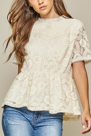Andree by Unit Cream Lace-Detail Peplum-Top - Product Mini Image
