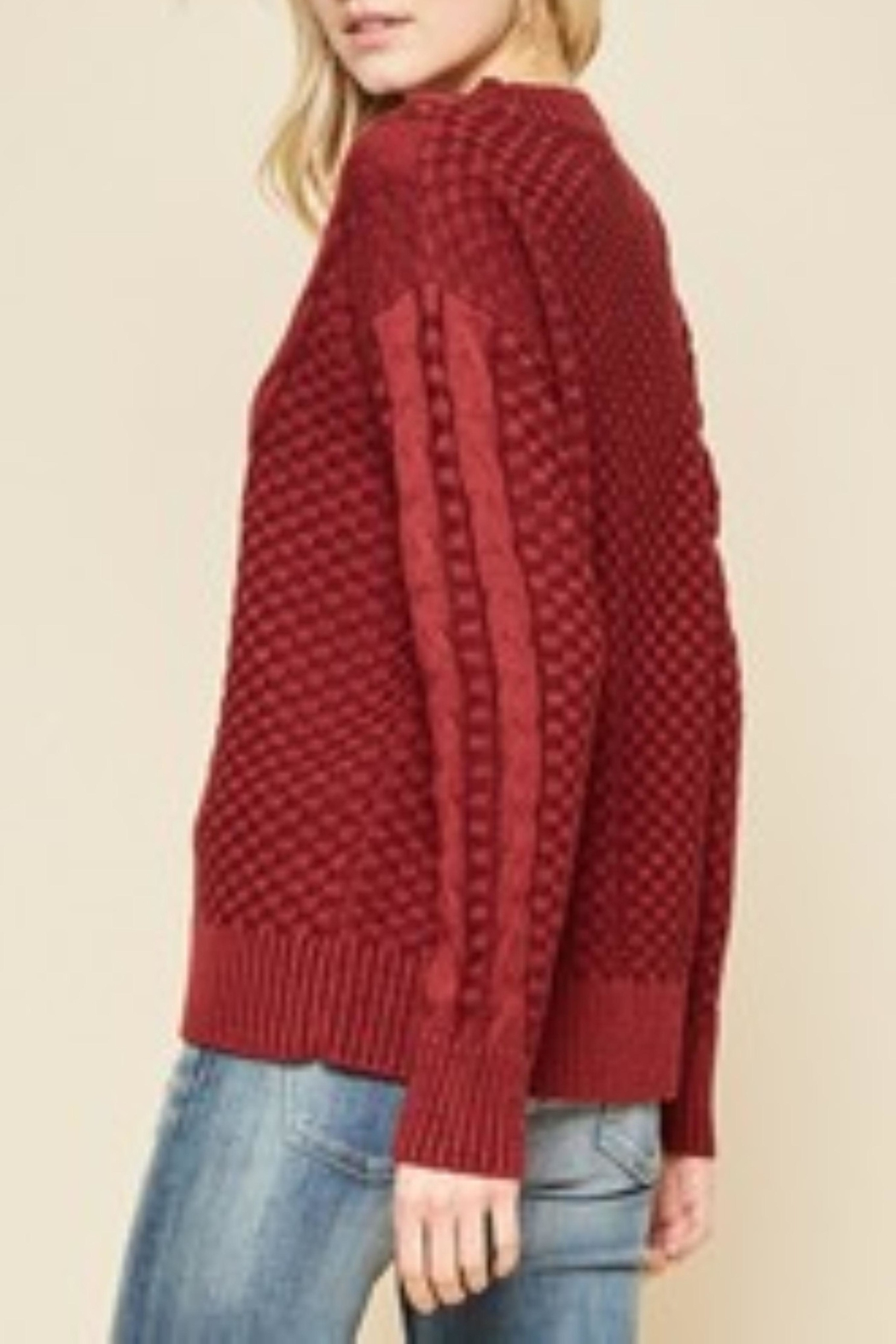 Andree by Unit Crimson Cable Knit Sweater - Front Full Image