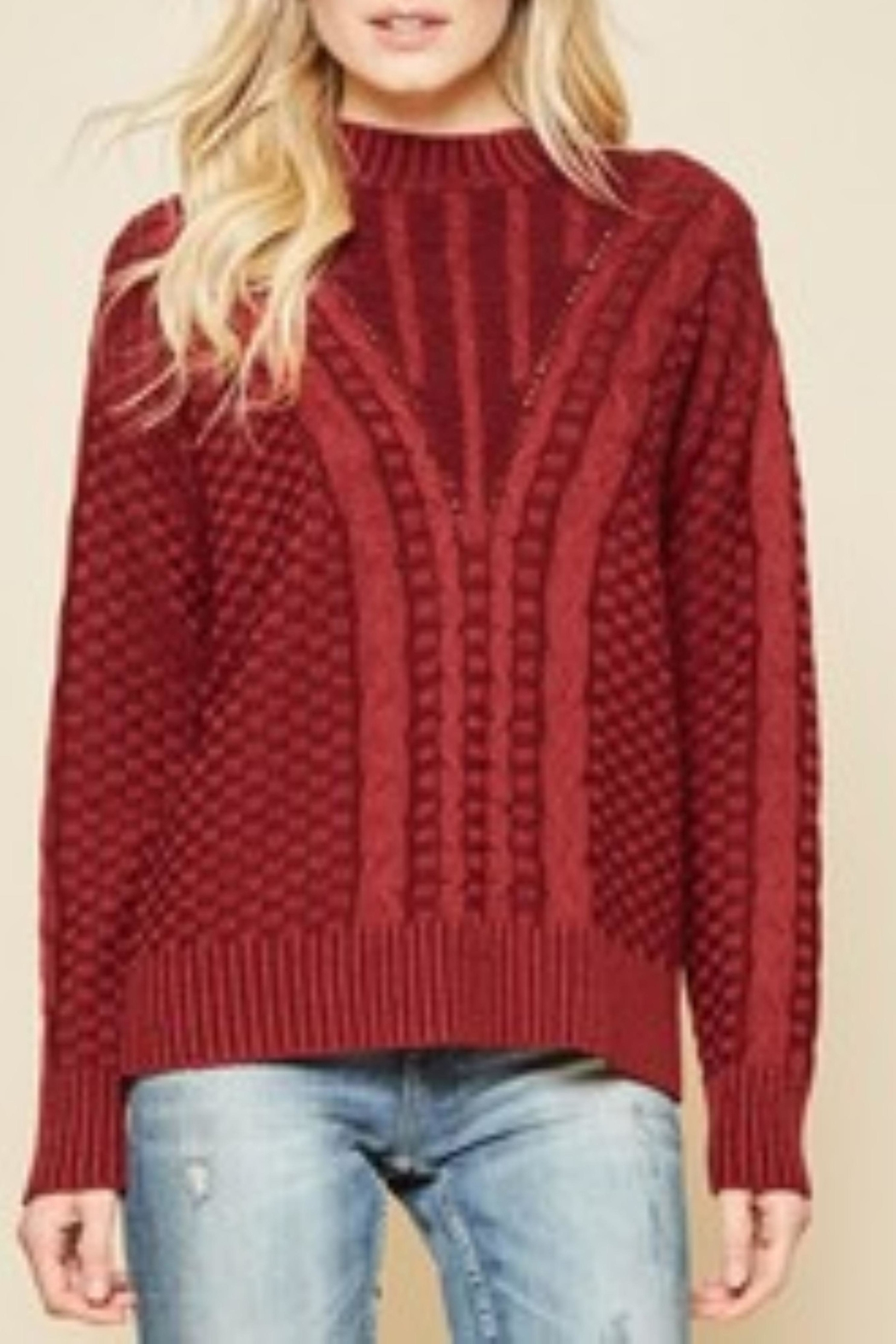 Andree by Unit Crimson Cable Knit Sweater - Main Image