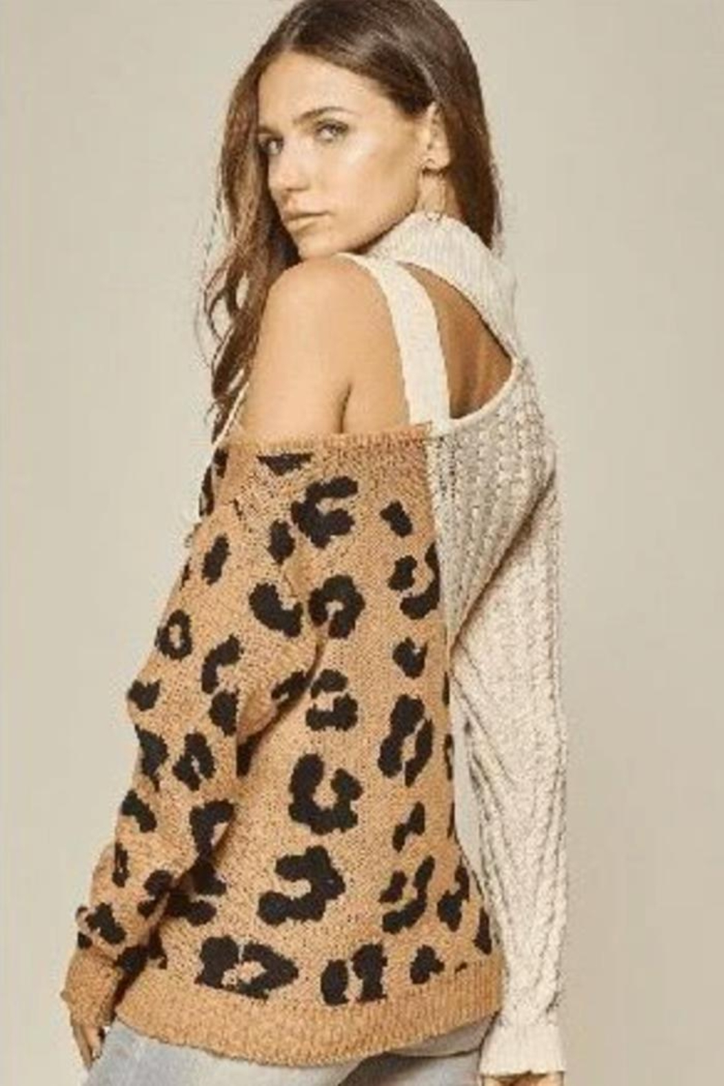 Main Strip Leopard Cut Out Sweater - Front Full Image