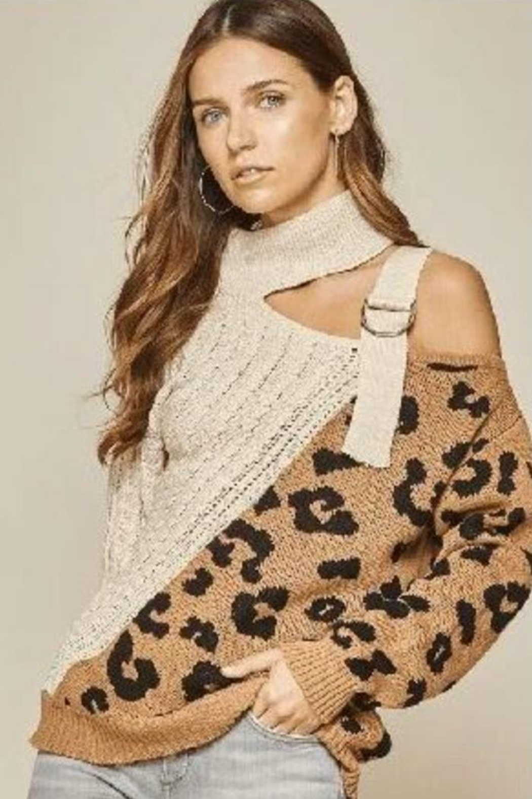 Main Strip Leopard Cut Out Sweater - Main Image