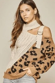 Main Strip Leopard Cut Out Sweater - Front cropped