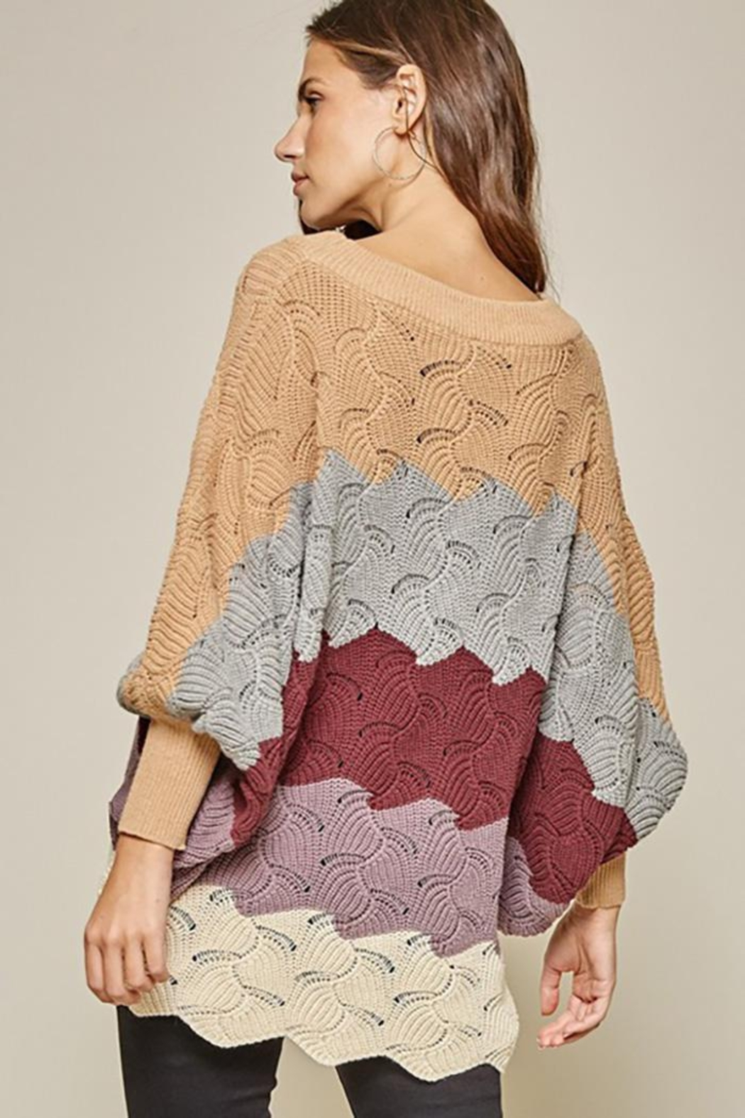 Andree by Unit Dolman Sleeves Oversized Fit Sweater - Front Full Image
