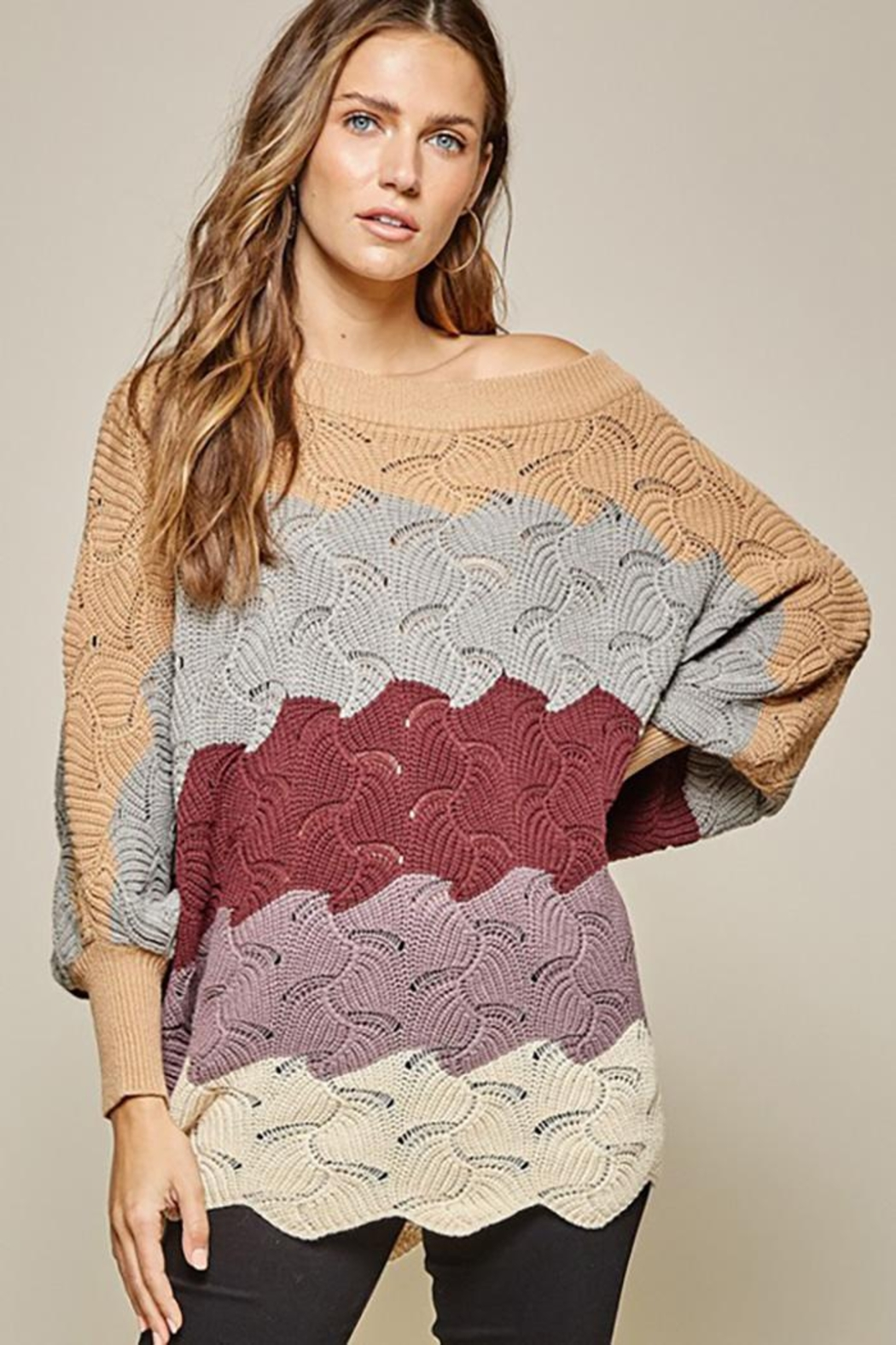 Andree by Unit Dolman Sleeves Oversized Fit Sweater - Main Image