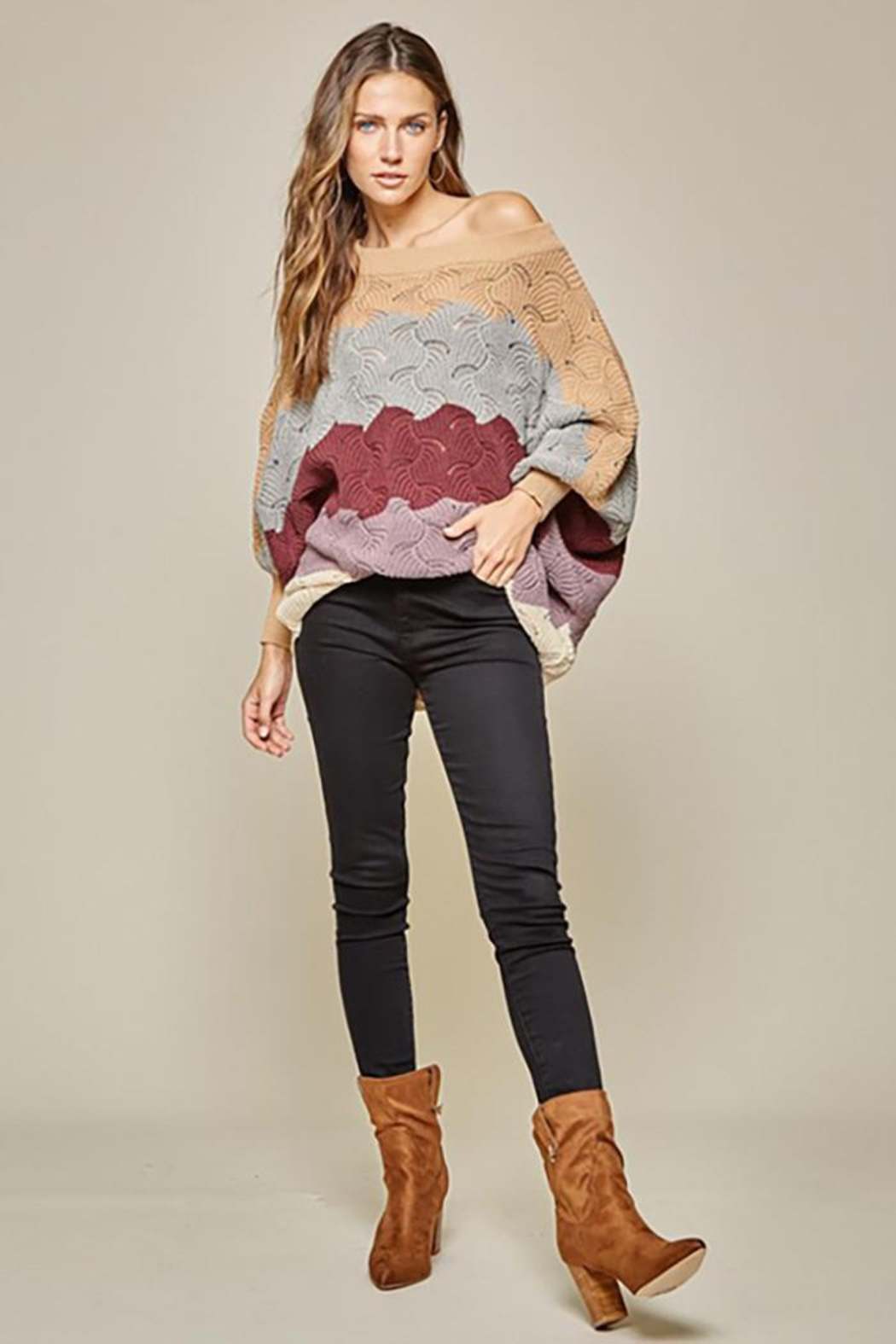 Andree by Unit Dolman Sleeves Oversized Fit Sweater - Side Cropped Image