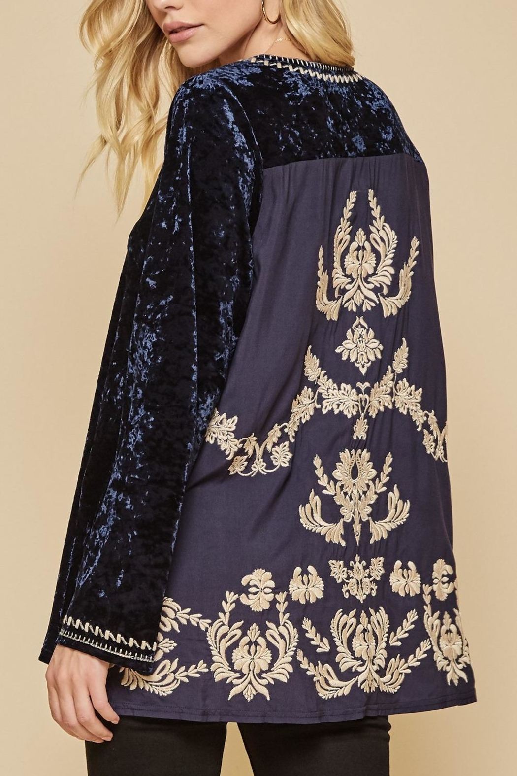 Andree by Unit Embroidered Backside Velvet Tunic - Main Image