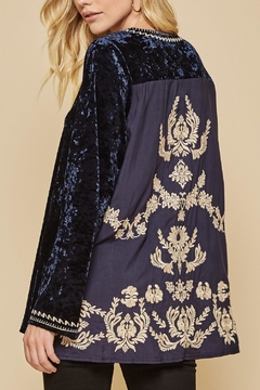 Shoptiques Product: Embroidered Backside Velvet Tunic