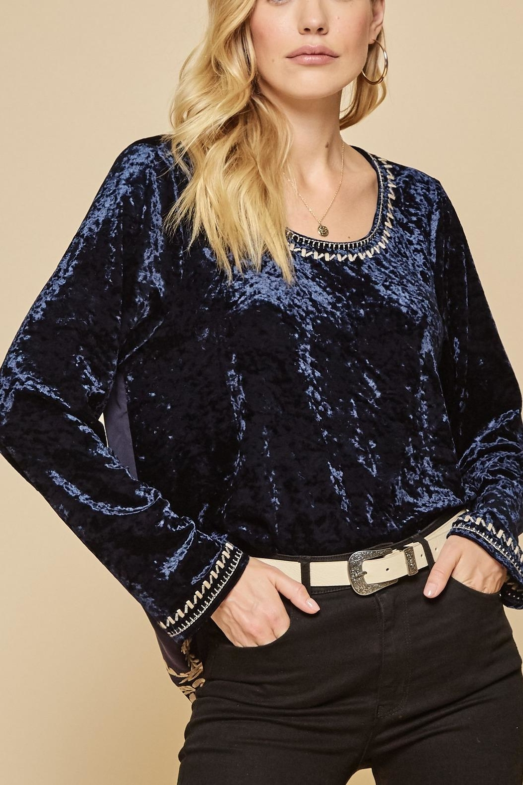 Andree by Unit Embroidered Backside Velvet Tunic - Front Full Image
