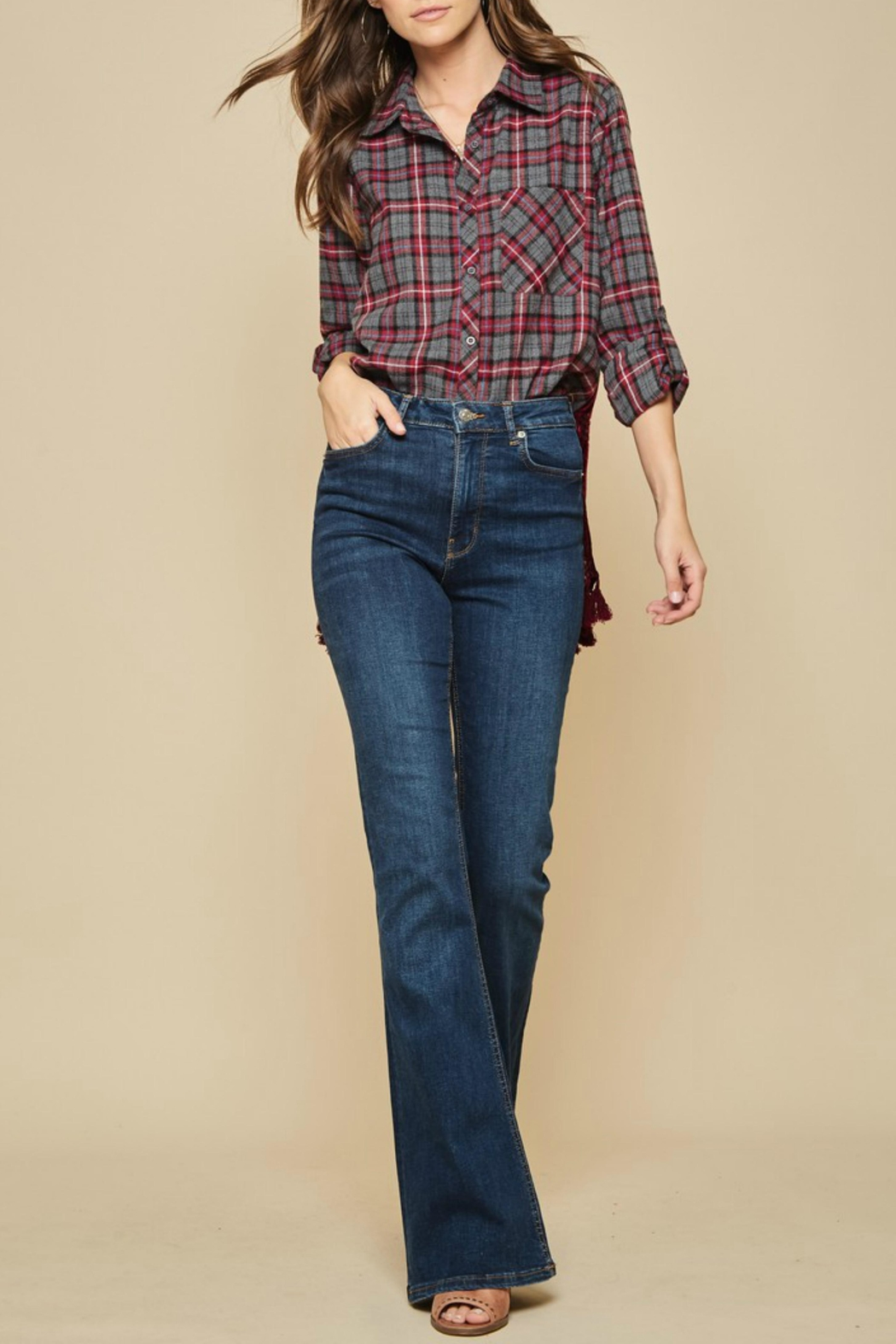 Andree by Unit Embroidered Burnout Flannel - Front Full Image